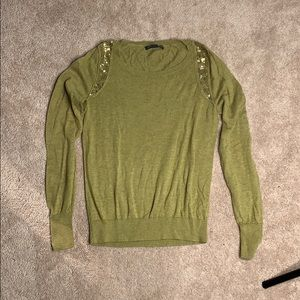 Banana Republic olive green sequined sweater